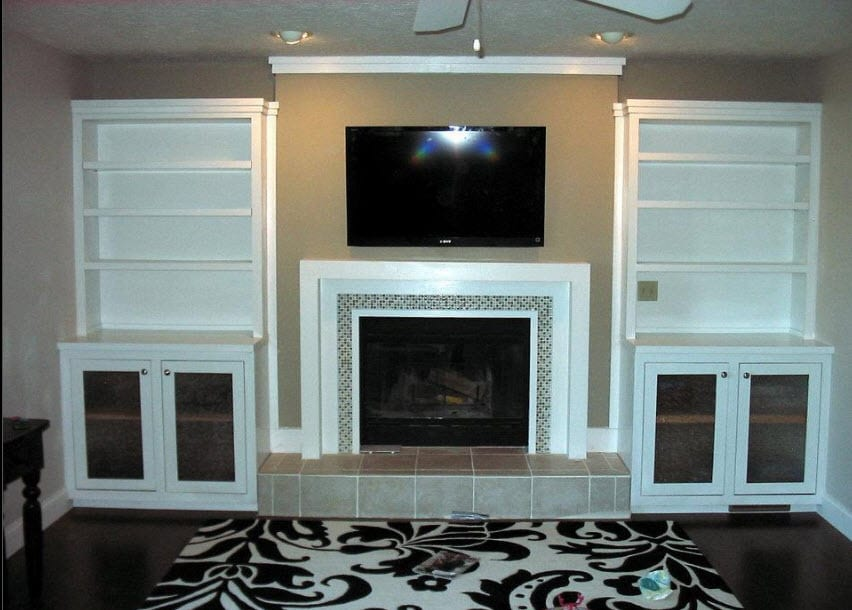 custom interior mantle and shelving by coors remodeling lafayette iindiana