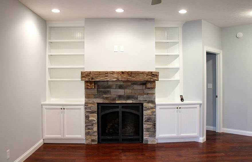 custom fireplace mantel and bookcases by coors remodeling
